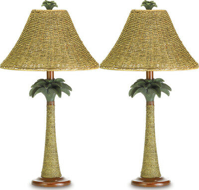 Set Of 2 Palm Tree Rattan Tropical Tree Style Table Lighted Lamp Decor New~37989