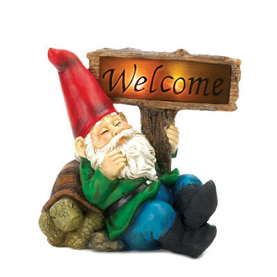 Gnomes Figurines, Miniature Gnome Garden, Yard Funny Welcome Gnome Solar  Statue