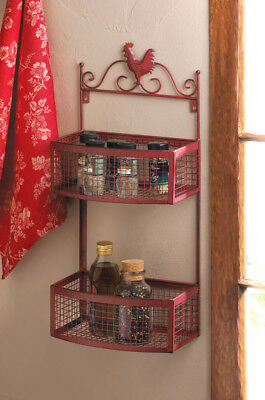 Country Red Rooster Double Wall Rack Distressed Vintage Style Kitchen~10015876
