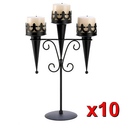 10 Gothic Black Triple Pillar Candle Holder Candelabra Stand Centerpieces~14114