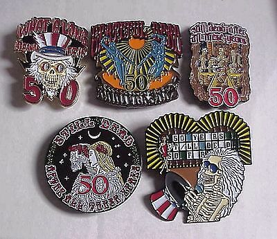 ON SALE ! 10 PACK 5 DESIGNS JULY 2015 CHICAGO 50th ANNIV GRATEFUL DEAD RELIX PIN