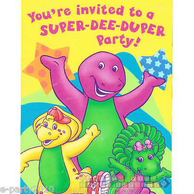 Barney Super Dee Duper Invitations 8 Birthday Party Supplies