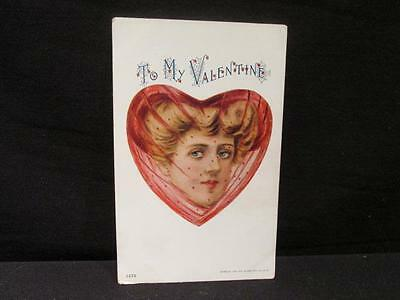 To My Valentine Woman in Heart with Lace Veil 1905 Ullman Mfg Postcard #1579