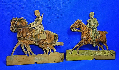 Vintage German Wood Fretwork Soldier with Horses Motive WW II World War 2 #J3
