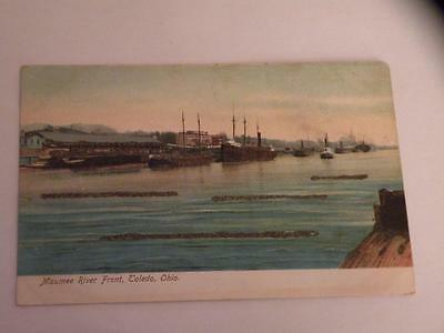 MAUMEE RIVER FRONT TOLEDO OHIO OH undivided back POSTCARD w/ glitter
