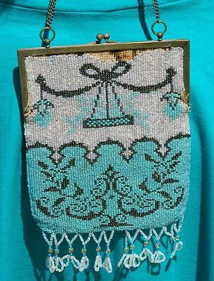 Vintage Art Deco Glass Beaded Purse W/ Beautiful Colorful Swag Design