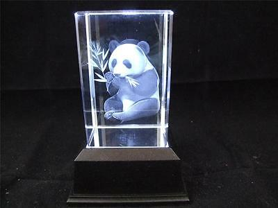 Solid Glass Crystal Laser Block and White Light Box - Panda.
