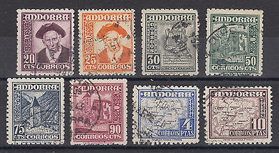 Spanish Andorra Sc 40/49 used. 1948-53 definitives, 8 different from set