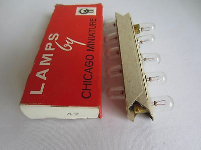 Box of 10 Chicago Miniature 47 CM47 GE47 Miniature Lamps Light Bulbs 6.3V .15A
