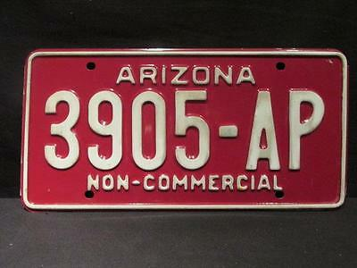 Arizona Vintage Undated White on Maroon Non-Commercial Licence Plate