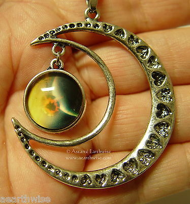 CRESCENT MOON WITH GLASS GALAXY CABOCHON PENDANT E Wicca Witch Pagan Goth