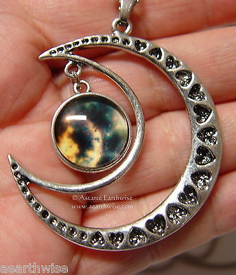 CRESCENT MOON WITH GLASS GALAXY CABOCHON PENDANT F Wicca Witch Pagan Goth