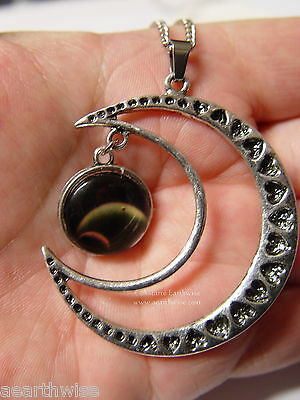 CRESCENT MOON WITH GLASS GALAXY CABOCHON PENDANT I Wicca Witch Pagan Goth