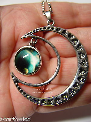 CRESCENT MOON WITH GLASS GALAXY CABOCHON PENDANT K Wicca Witch Pagan Goth