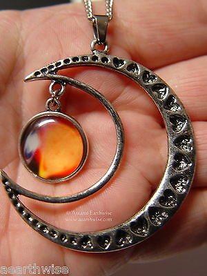CRESCENT MOON WITH GLASS GALAXY CABOCHON PENDANT N Wicca Witch Pagan Goth