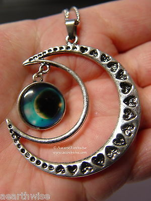 CRESCENT MOON WITH GLASS GALAXY CABOCHON PENDANT R Wicca Witch Pagan Goth