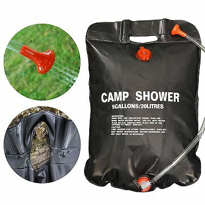 20L Portable Compact Camp Camping Solar Sun Heated Powered Outdoor Water Shower