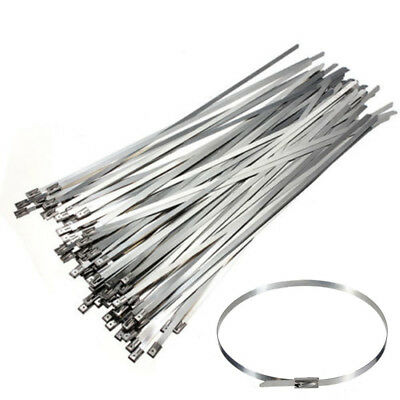 New 100PCS 4.6x300mm Stainless Steel Exhaust Wrap Coated Locking Cable Zip Ties