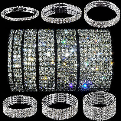 Bling Clear Crystal Rhinestone Stretch Womens Bracelet Bangle Wedding Wristband