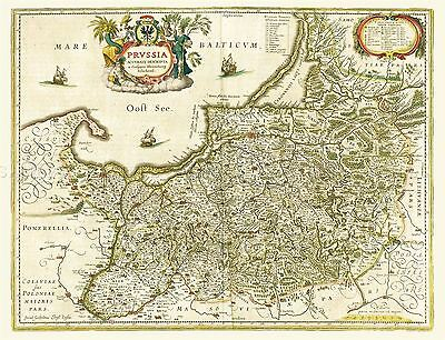 Map Antique 1645 Blaeu Prussia Old Historic Large Replica Poster Print Pam0032