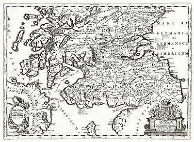Map Antique 1690 Coronelli Southern Scotland Large Replica Poster Print Pam0172