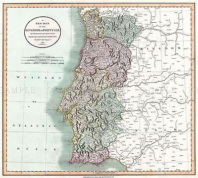 Map Antique 1801 Cary Portugal Old Historic Large Replica Poster Print Pam0259