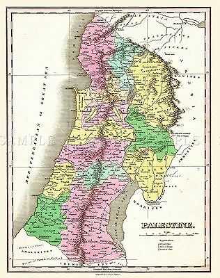 Map Antique 1827 Finley Palestine Historic Large Replica Poster Print Pam0282