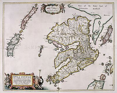 Map Antique Blaeu Scotland 1654 Isle Mull Old Large Replica Poster Print Pam0603