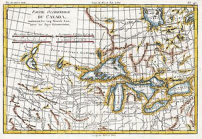 Map Antique Bonne 1780 Great Lakes West Canada Large Repro Poster Print Pam0697