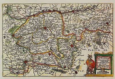 MAP ANTIQUE HOLLAR 17TH CENTURY SURREY OLD LARGE REPLICA POSTER PRINT PAM0926