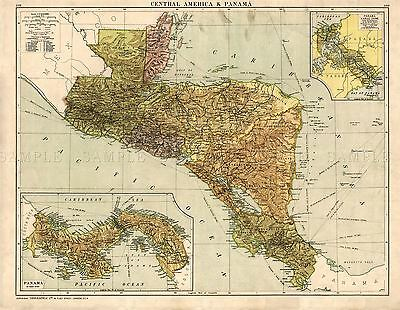 Map Antique Gross 1920 Central America Old Large Replica Poster Print Pam0910