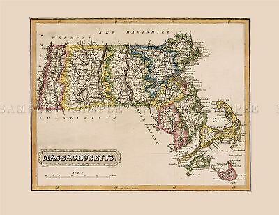Map Antique Lucas 1814 General Atlas Massachusetts Replica Poster Print Pam1013
