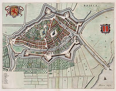 MAP ANTIQUE VAN LOON ATLAS DELFT CITY PLAN OLD LARGE REPRO POSTER PRINT PAM1314