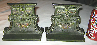 Antique Cjo Judd Arts & Crafts Mission Cast Iron Garden Flower Arch Bookends
