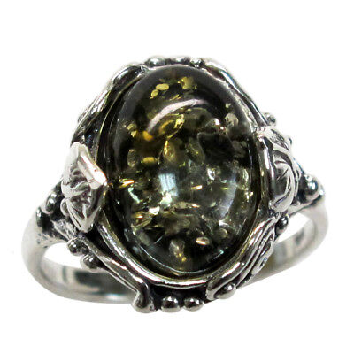 Charming Natural Green Baltic Amber 925 Sterling Silver Ring Size 5-10