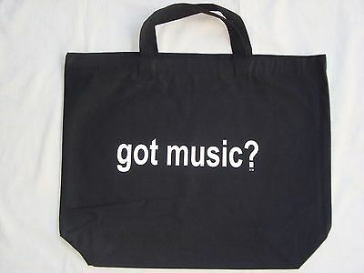 """Got Music Black/White Tote Bag Canvas 18"""" x 15"""" Great Music Gift NEW"""