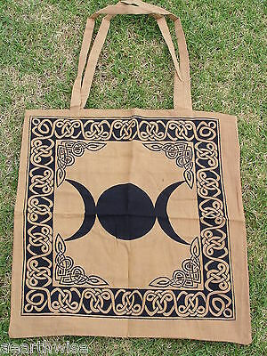 BROWN TRIPLE MOON COTTON TOTE BAG 460 x 440mm + Strap Wicca Pagan Witch