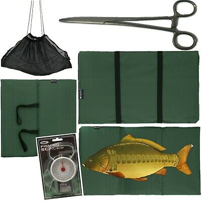 "CARP FISHING UNHOOKING LANDING MAT + 50LB SCALES 8"" Curved Forceps + Black Sling"