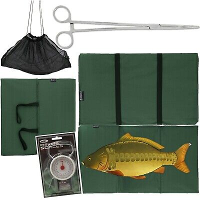 "CARP FISHING UNHOOKING LANDING MAT 50LB SCALES 10"" Curved Forceps + Black Sling"