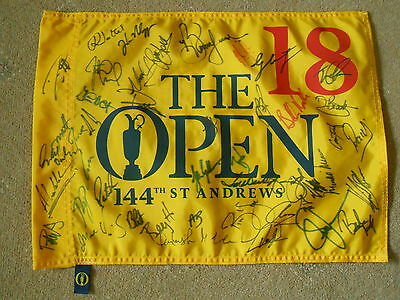 The Open Multi Signed 2015 St Andrews Pin Flag Over 40 Autographs 1.