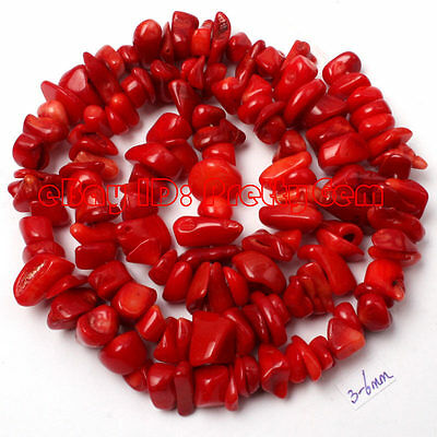 """4-7mm Freeform Shape Red Coral Chips Gemstone Jewelry Making Beads Strand 16"""""""