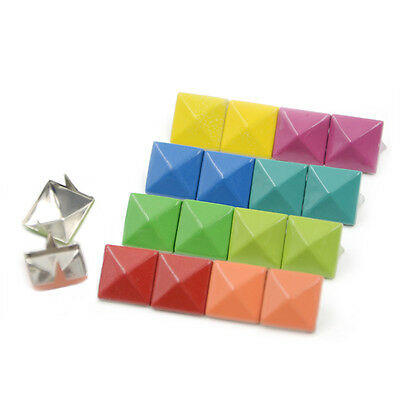 50/100/200pcs Pyramid Square 12mm Studs Rivet Spike Nailhead 8 Color DIY Punk