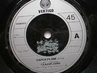 "Status Quo Paper Plane 7"" Vertigo 6059071 EX 1970s plastic label, there is 2mm d"