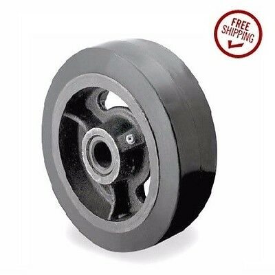 """Rubber Mold On Steel Wheel 8"""" x 2"""" with 3/4"""" ID Roller Bearing & 600# Capacity.."""