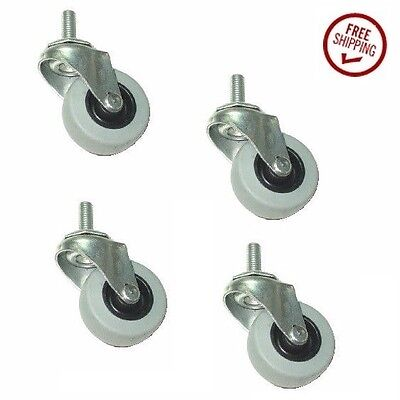 """Set of 4 Low Profile Gray Rubber 2"""" Wheel Stem Casters with 3/8"""" Threaded Stem"""