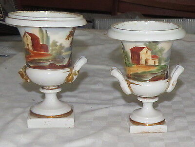 "Tucker & Hemphill Two 5.1/2"" Painted Urns"