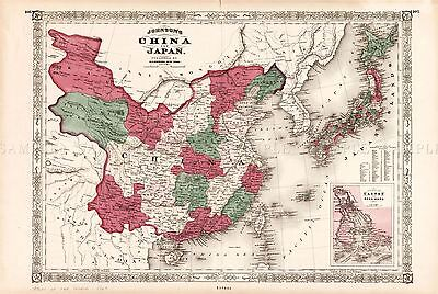 Map Antique Johnson 1868 China Japan Historic Large Replica Poster Print Pam0961