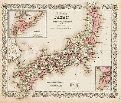 Map Antique Colton 1855 Japan Old Historic Large Replica Poster Print Pam0831