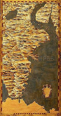 Map Antique Danti Gold Atlas Chile Argentina Large Replica Poster Print Pam0859