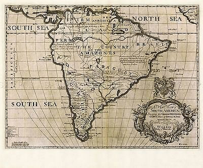 Map Antique Wells 1700 South America Historic Large Replica Poster Print Pam1350